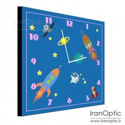 ساعت دیواری مربع طرح کودکان فضایی 1